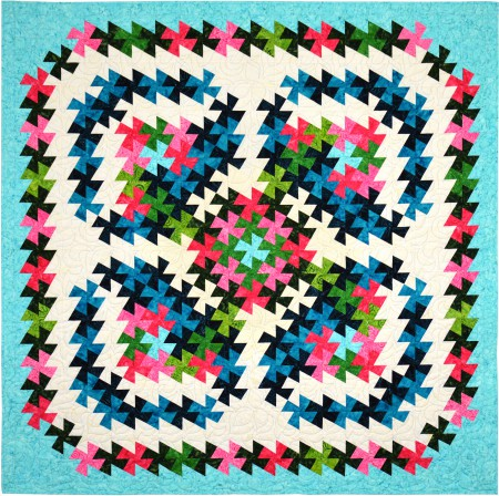QM144 Twister Blooms throw quilt photo